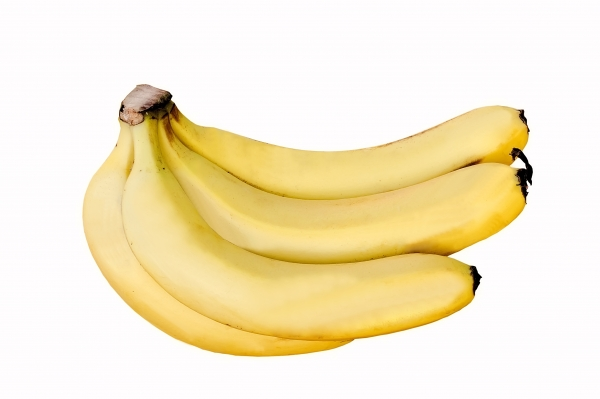 Almost Perfect bunch of Cavandish Bananas with white background