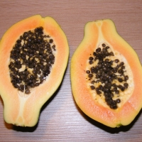 Papaya Fruit Not exact variety By byrev [CC0 1.0 (https://creativecommons.org/publicdomain/zero/1.0/deed.en)] From Pixabay
